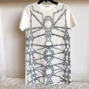 Zara woman mini dress M white and gray
